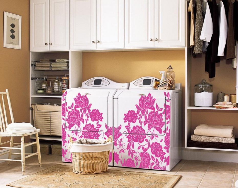 launfry room makeover ideas - decals for washers and dryers