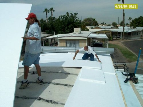 laying foam over bowed roof for mobile home roof over