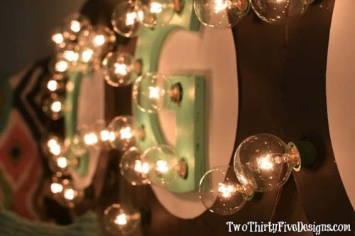 lighted letters wall DIY project