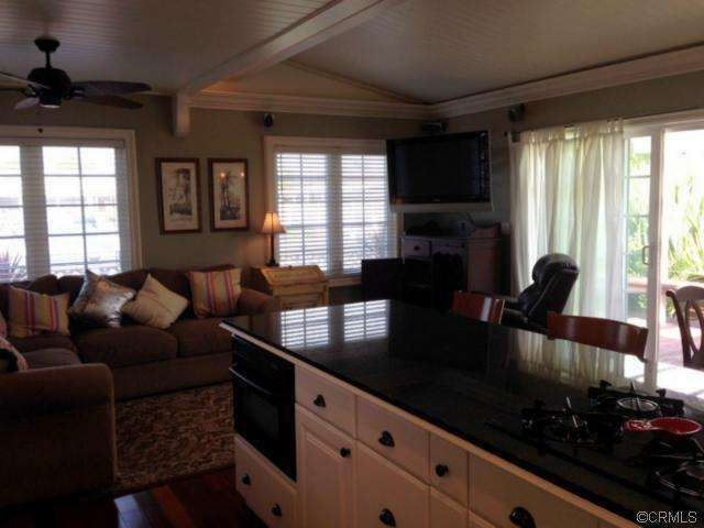 living room after complete remodel of manufactured home