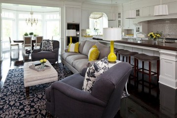 living room decor- grey and yelloow