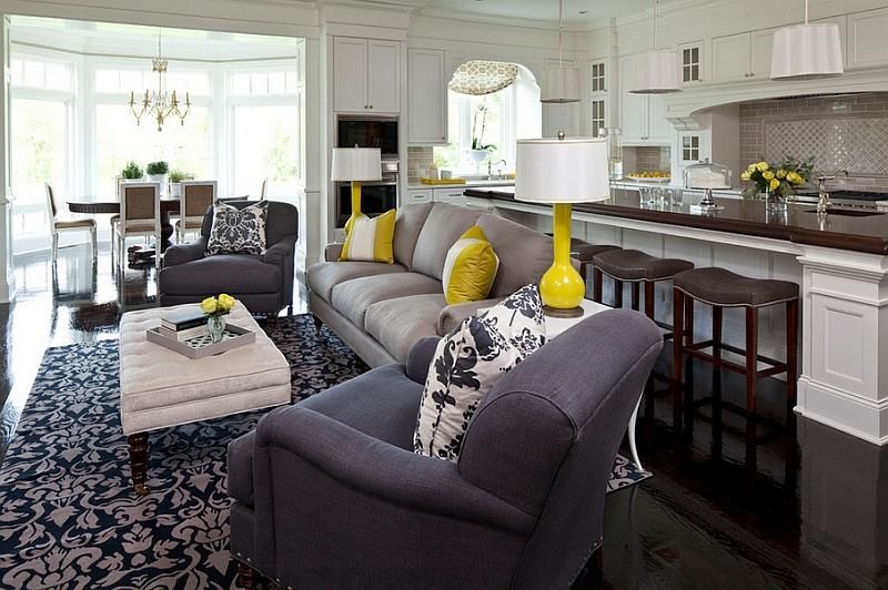Living Room Decor  Grey And Yelloow