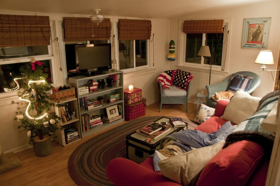 living room in vintage mobile home