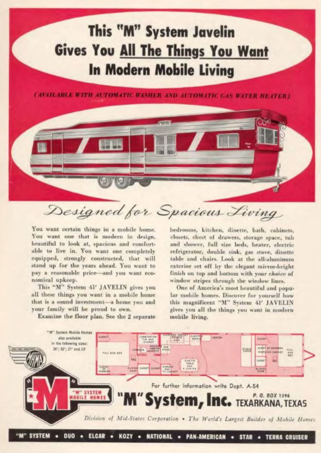 vintage mobile homes-m system ad 1955