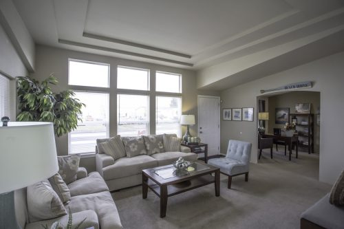 manufactured home design options-living room with front door