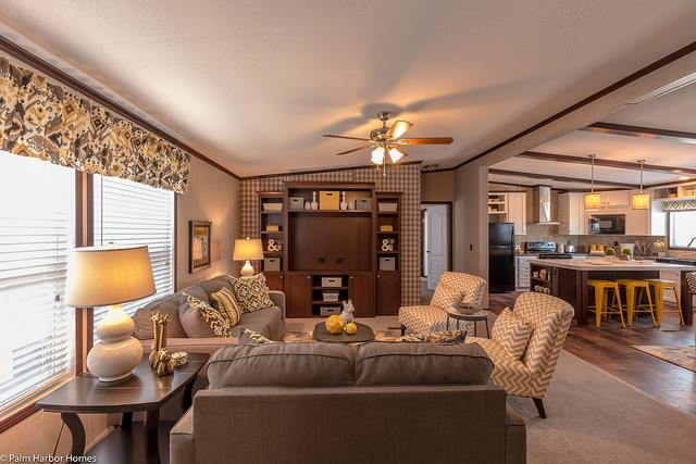 Featured manufactured home the arlington by palm harbor for Mobile home living room designs