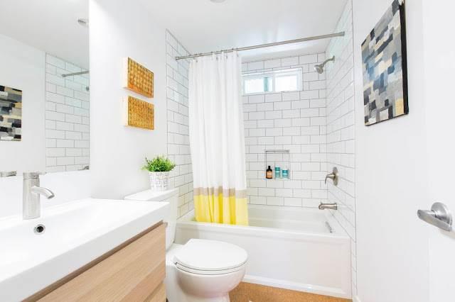modern manufactured home remodel after - bathroom after
