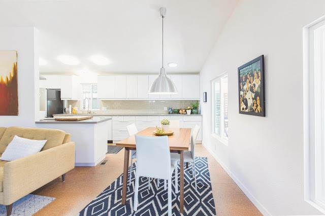 modern manufactured home remodel after - dining room after