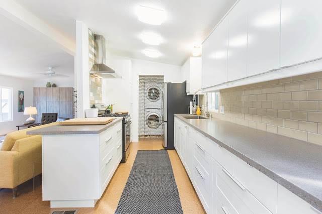 modern manufactured home remodel after - kitchen after