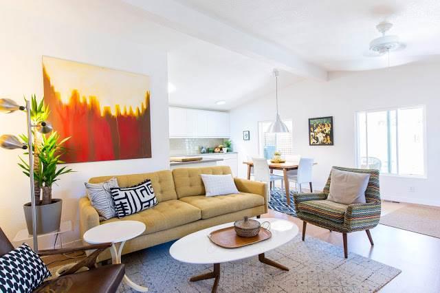 modern manufactured home remodel after - living room2