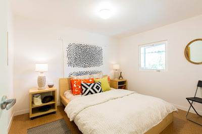 modern manufactured home remodel after - small bedroom after