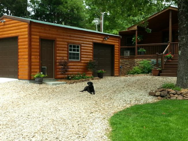manufactured home remodel - new garage installed beside the home