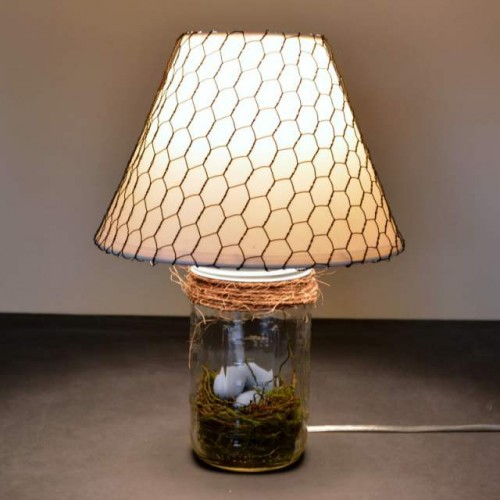 mason jar and chicken wire lamp tutorial