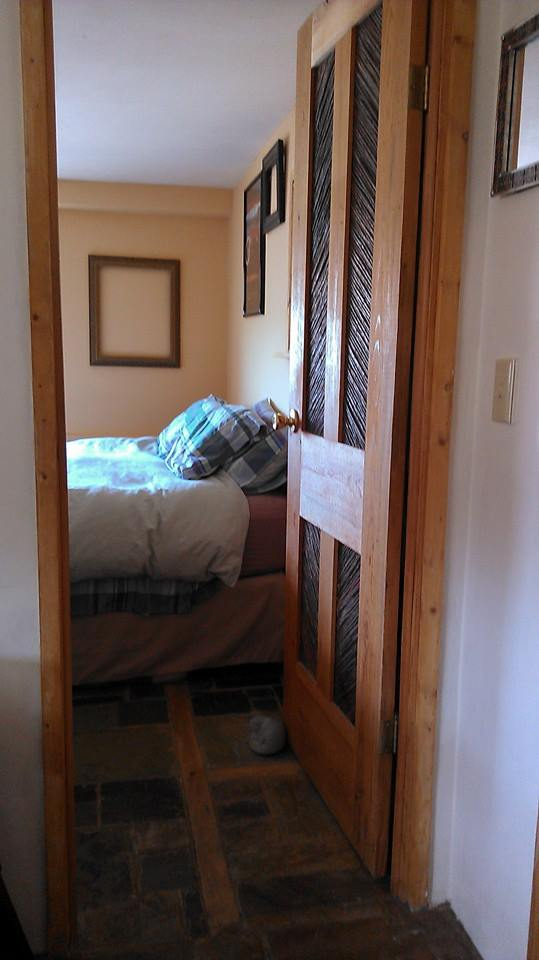 master bedroom door in southwestern mobile home