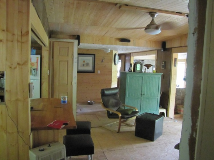 living room in papercrete mobile home addition