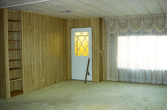 Top 3 mobile home makeover ideas to give an old mobile home new life - painting the panelling - interior before