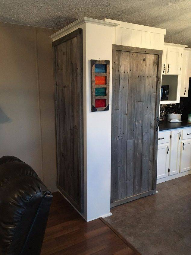 Single Wide Makeover: Modern Traditional Decor - new Kitchen pantry with reclaimed fence wood