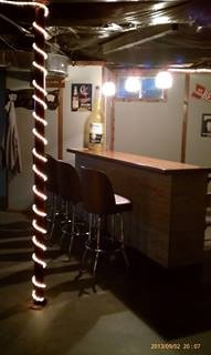 Mobile home basement with bar