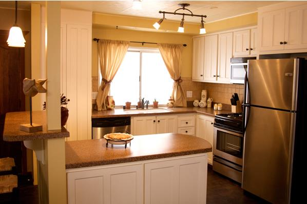 25 great mobile home room ideas for Homey kitchen designs