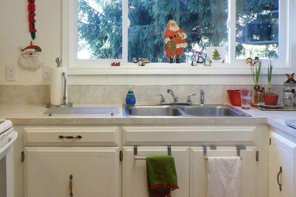 Mobile home kitchen renovation-old sink and window