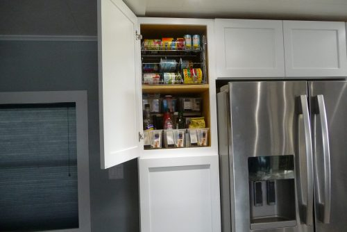 mobile home kitchen upgrade-finished storage