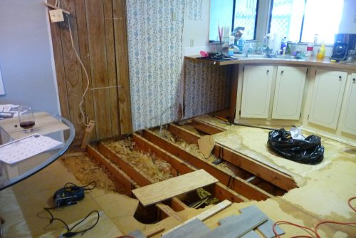 mobile home kitchen upgrade-replacing the flooring