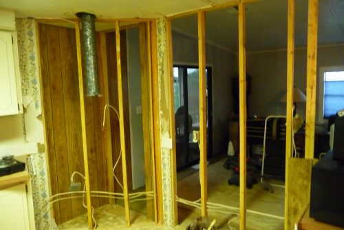 mobile home kitchen upgrade-tearing out the walls