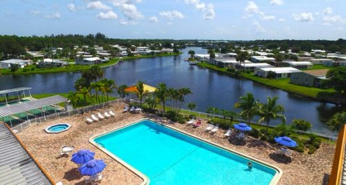 buying a mobile home in florida-country side at vero beach pool