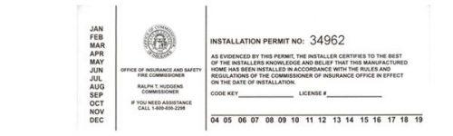 Mobile home living in georgia-installation permit