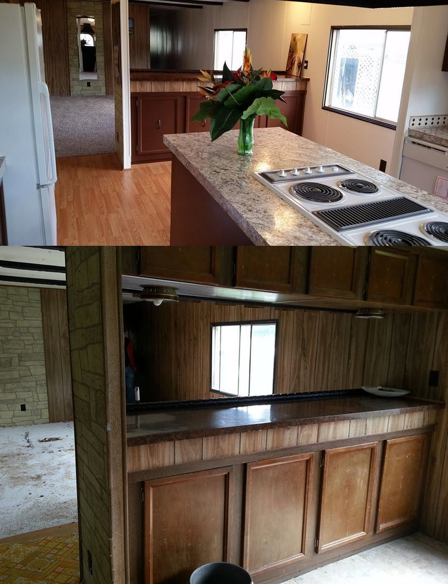 Kitchen Cabinet Makeovers Before And After 6 great mobile home kitchen makeovers