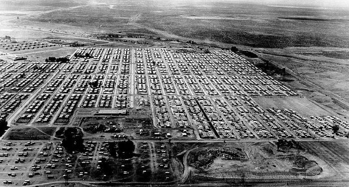 mobile home park rent across the nation . - arial view of vintage park