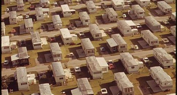mobile home park rent across the nation - arial view of 1970's park