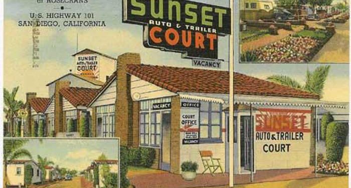 mobile home park rent across the nation - sunset park postcard