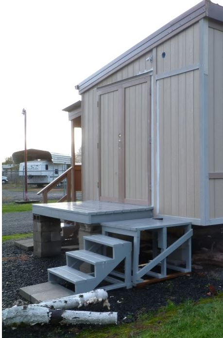 mobile home recycled into workshop