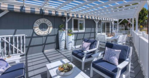 Beach themed mobile home transformation-backyard after