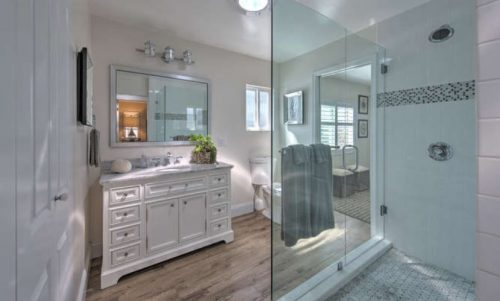 Beach themed mobile home transformation-bathroom after