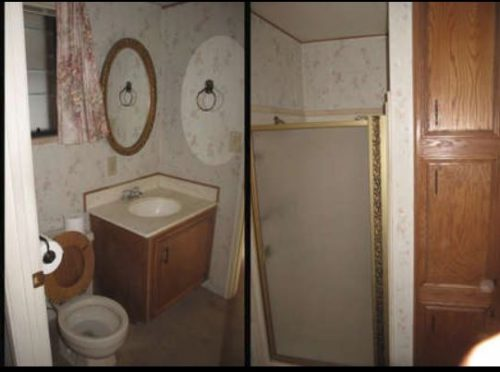 Beach themed mobile home transformation-bathroom before