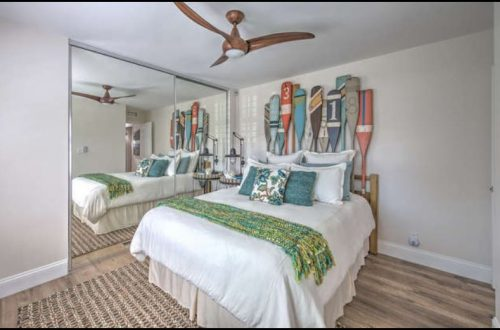 Beach themed mobile home transformation-bedroom after