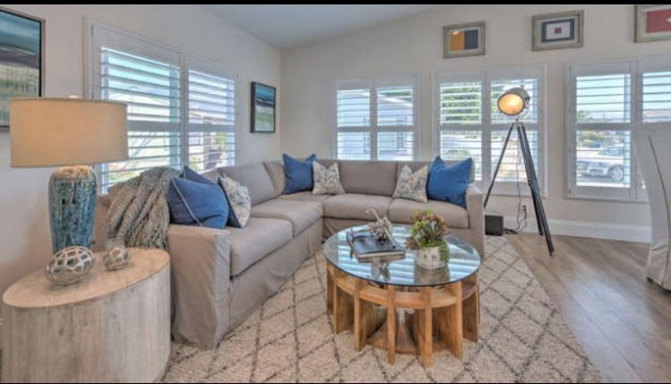 beach themed mobile home transformation-family room after