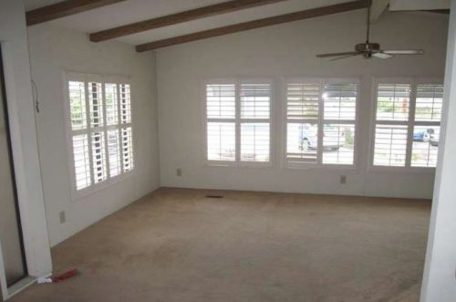 Beach themed mobile home transformation-family room before