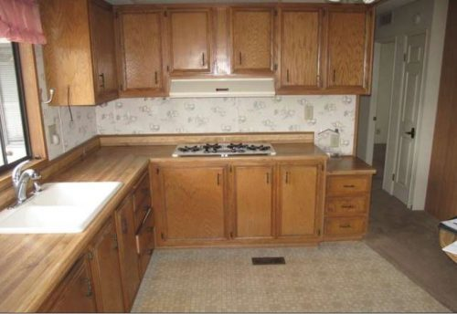 Beach themed mobile home transformation-kitchen before