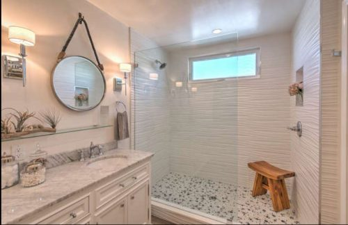 beach themed mobile home transformation-master bathroom after 2