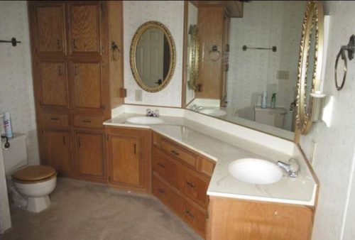 beach themed mobile home transformation-master bathroom before