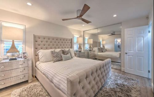 Beach themed mobile home transformation-master bedroom after