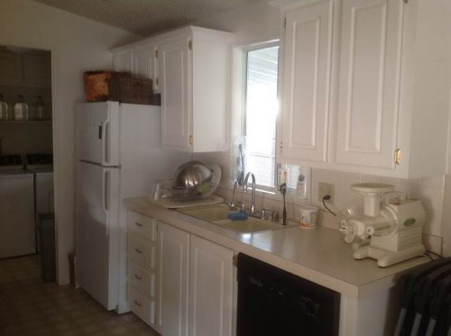 modern manufactured home remodel - kitchen before