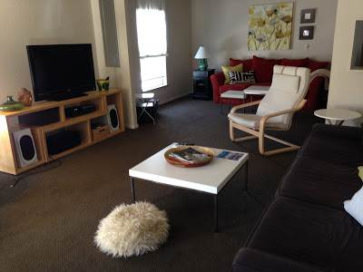 modern manufactured home remodel - living room before