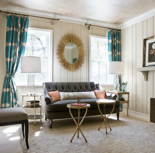 mod mid century room with wood paneling