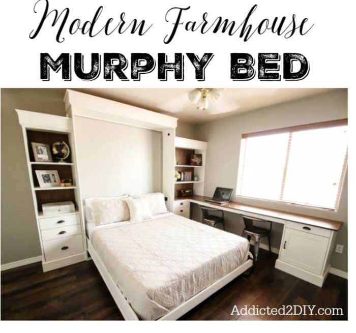 modern farmhouse murphy bed DIY