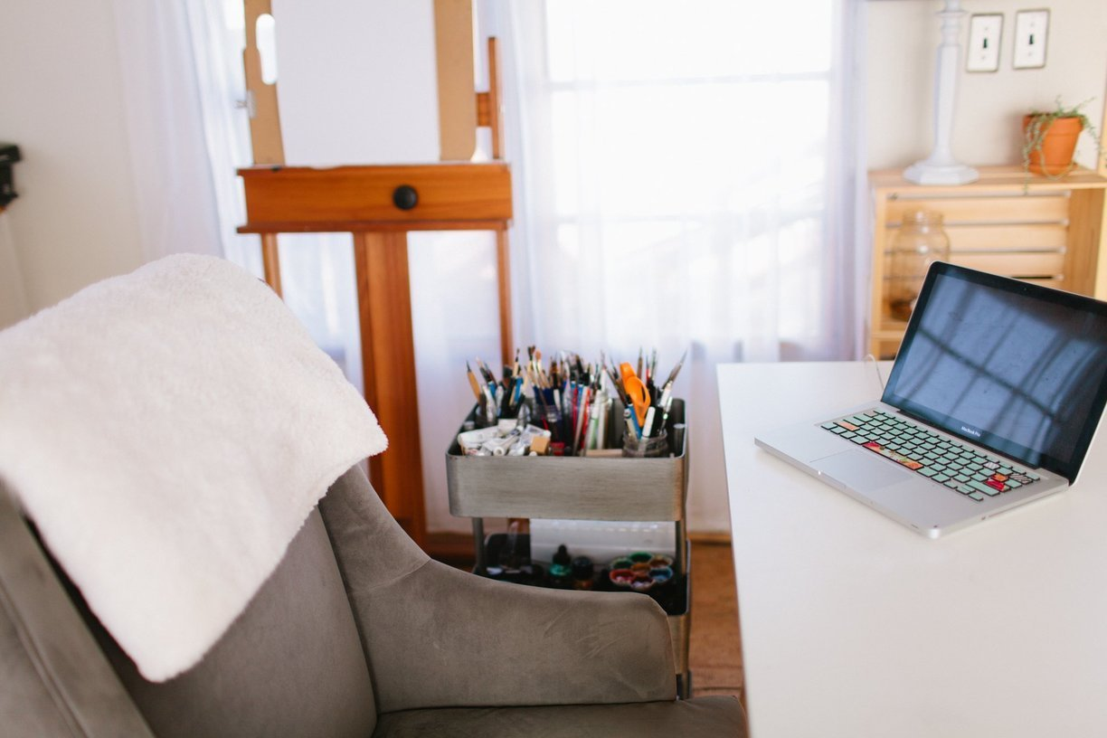 mobile home decor-modern hip office space in mobile home