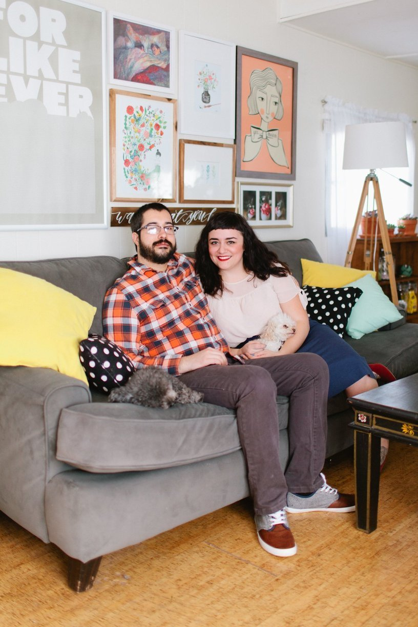 modern hipster couple in mobile home